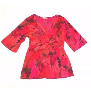 Oneworld Red Floral Top Size Large